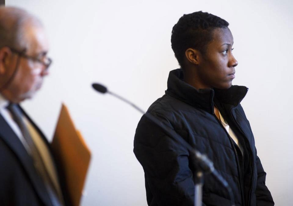 Jahmeilla Tresvant remained mostly silent in court as she faced multiple gun charges in which police believe she was holding guns for someone else. (Photo credit: The Boston Globe)