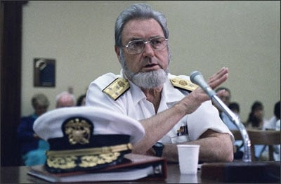 """While the position of Surgeon General cannot make public health policy, as """"The Nation's Doctor,"""" they are well respected and trusted, such as former Surgeon General C. Evert Coop, seen here testifying in uniform in front of Congress."""