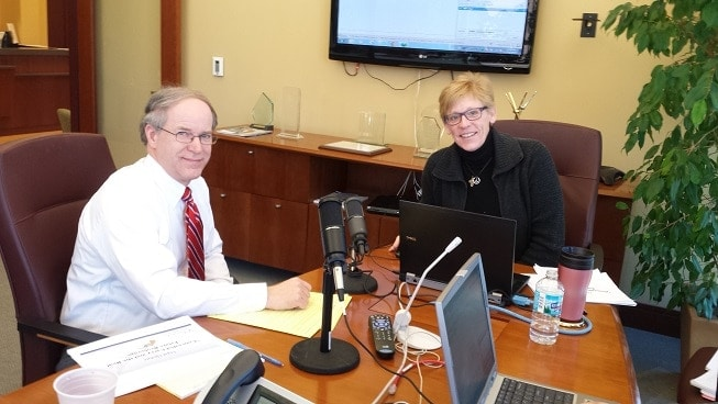 John A. Kauerauf and Betsy Urbance get ready for an IAR Legal Webinar on Thursday, Feb. 27, 2014 for realtors in Illinois facing new concealed carry hurdles. (Photo credit: IAR)