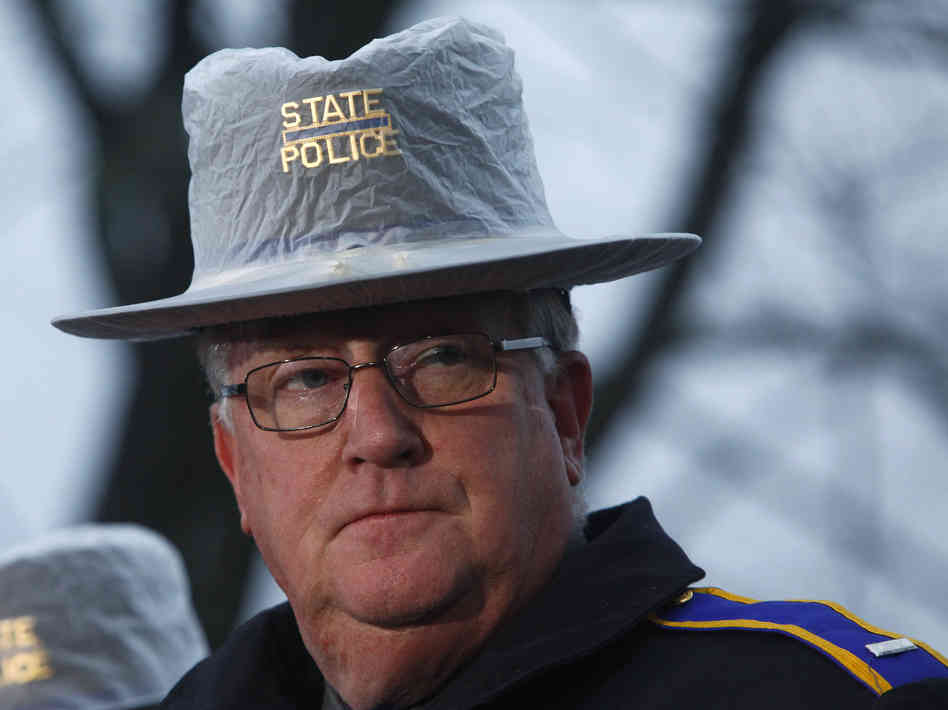 """Lieutenant Paul Vance of the CT State Police states, """"""""I like it is likely fabricated … """"about the report of 250 CT State troopers signing a letter refusing to enforce the State's unpopular new gun control laws. (Photo credit: NPR)"""