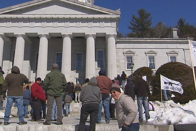Less than a week after the proposals were approved by the city council, protesters took to the Statehouse steps to show their disapproval. (Photo credit: My Champlain Valley)