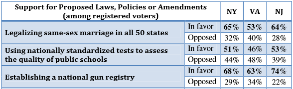 A recent poll conducted in three east coast states found voters in favor of establishing a national gun registry.