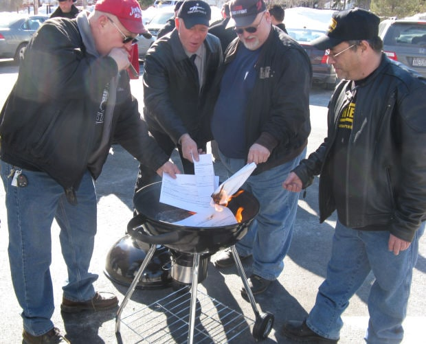 Gun owners in the Empire State came out Sunday to burn their NYS Police Assault Weapons Registration forms in protest of the coming April 15 registration deadline under the SAFE Act (Photo credit: Saratoga Post Star/Michael Goot)