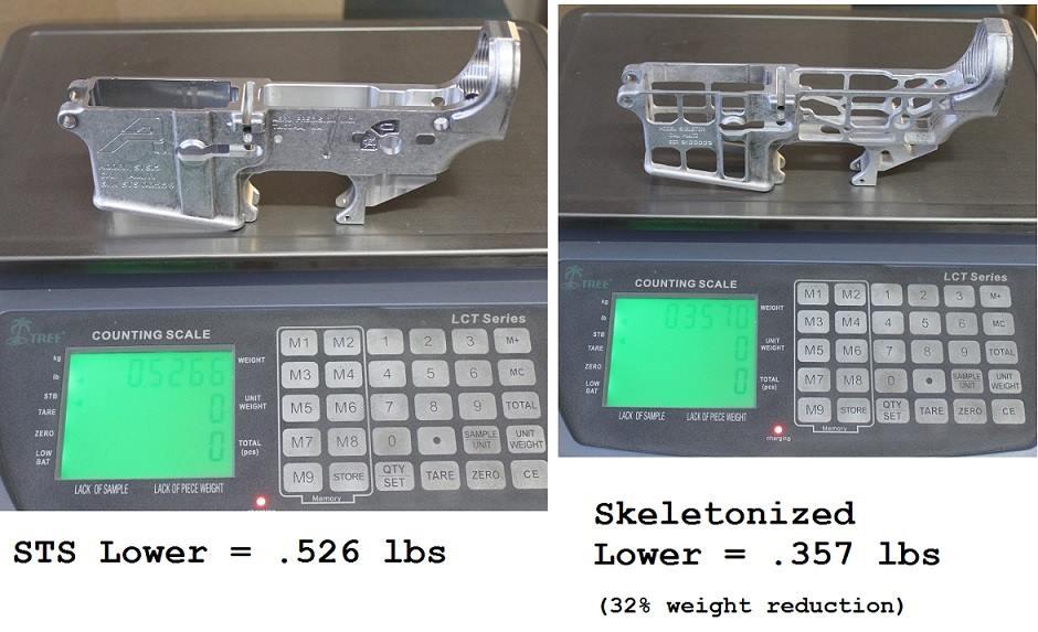 skeletonized AR lower prototype weight