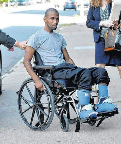 James Rankin suffered emotional distress while being pursued by police after a violent home invasion and is now paralyzed from the waist down after being shot by the police. (Photo credit: The Dallas Post)