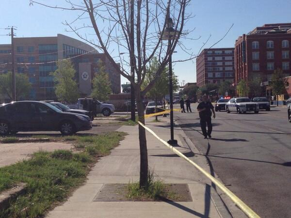 The incident happened about a block from the Dallas police headquarters. (Photo credit: The Dallas Morning News)