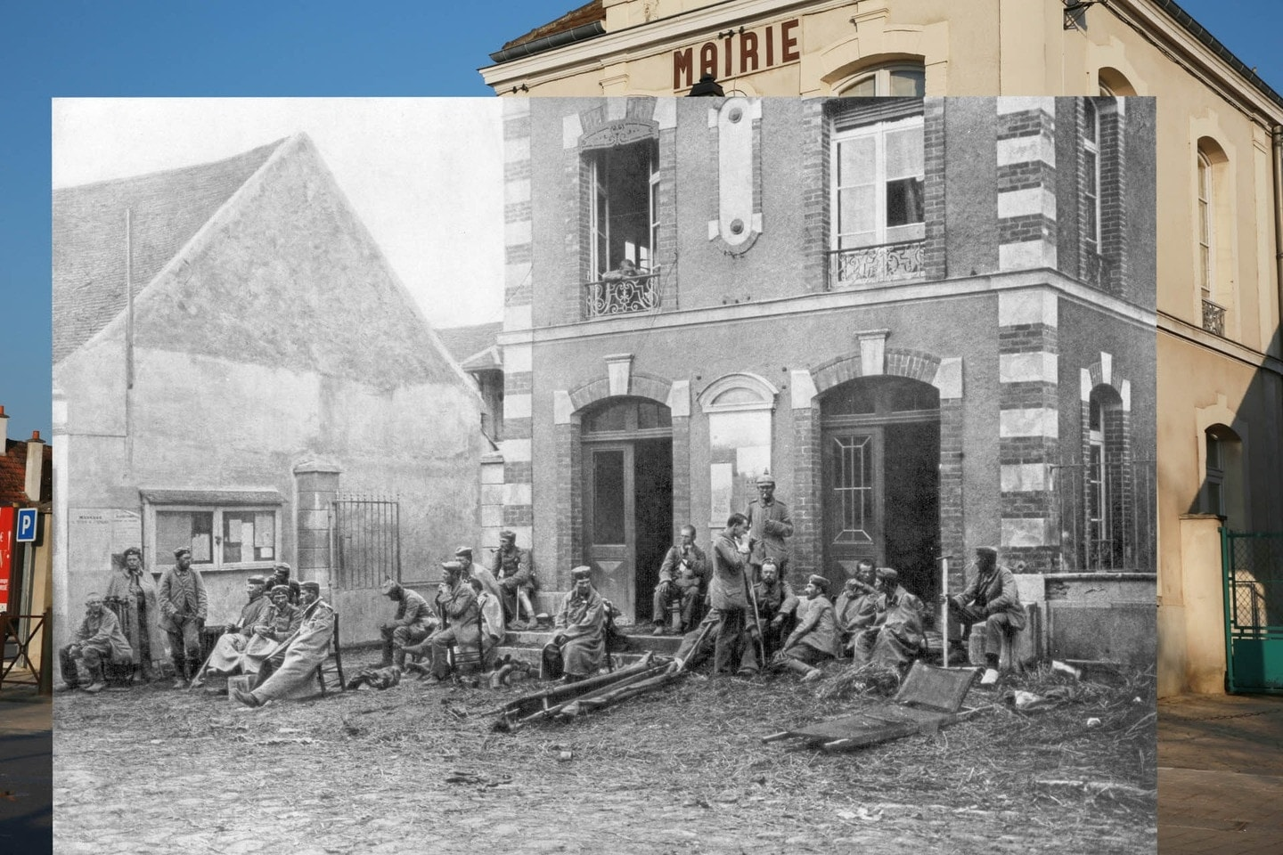 """""""German soldiers taking a rest during the First Battle of the Marne on the steps of the Vareddes Town Hall, France, 1914"""""""