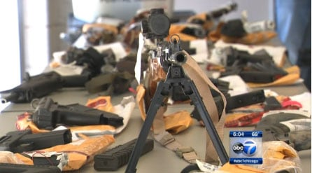 Despite collecting more illegal guns than any other city in the country, those possessing the illegal firearms in Chicago only spend six months – or less - in jail and often end up back on the streets and once again in possession of illegal guns. (Photo credit: ABC)