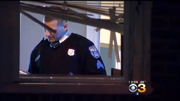 Investigators believe that the intruders made their way into the couple's home through a broken downstairs window and used that same window to escape once the altercation with the homeowner broke out. (Photo credit: CBS)