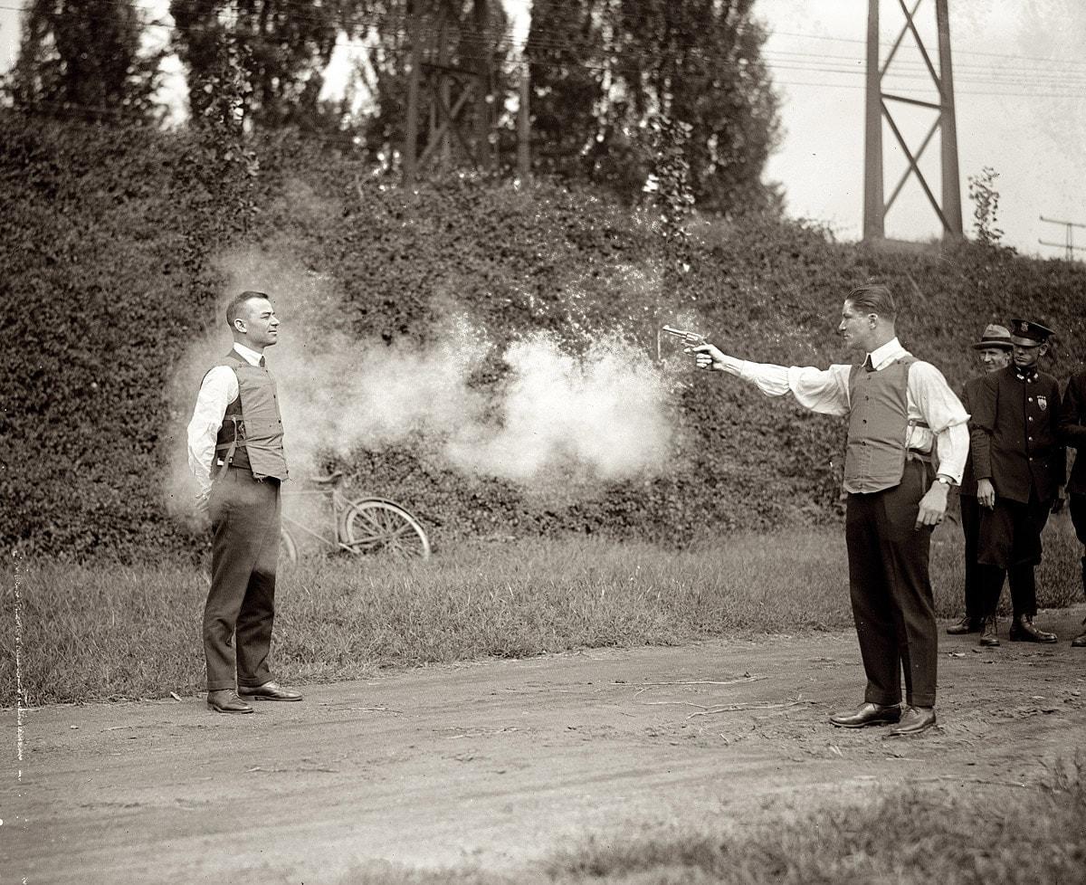 Testing bullet proof vests in 1923.