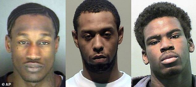 Three of the men charged with the brutal beating: Wonzey Saffold, 30, James Davis, 24, and Bruce Wimbush Jr., 17. (Photo credit: AP)