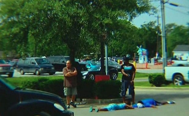 Nobody was injured, but it's unclear if the two suspects needed to change their underpants after being pulled out of their vehicle at gunpoint. (Photo credit: KHOU)