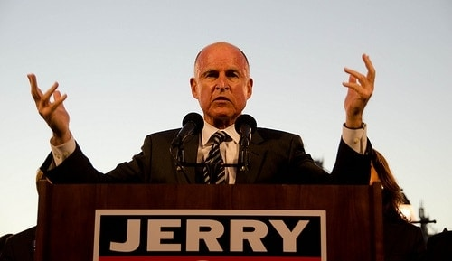 The ghost of former Gov. Jerry Brown, who banned lawful open carry in Calfornia in 2011, continue to haunt gun owners in that state. (Photo credit: KALW News)