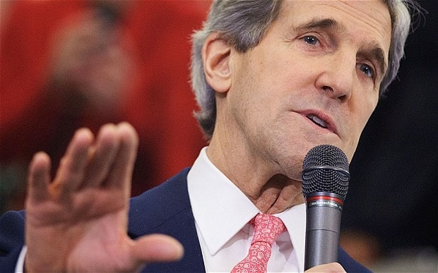 Secretary of State John Kerry maintains that the UN Arms Treaty is about terrorists not US gun owners. (Photo credit: AP)
