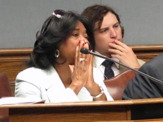 Rep. Barbara Norton (D-Shreveport) looks on as her bill is criticized in committee Wednesday. (Photo credit: The Advocate/Michelle Millholland)