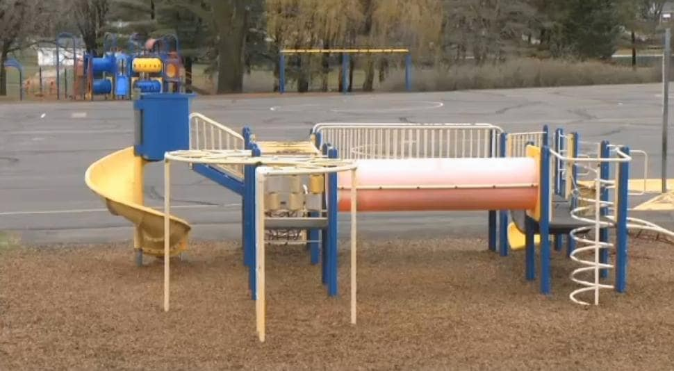 According to reports, LaDue practiced setting off bombs at the Hartley Elementary School playground (shown) in preparation for his plot (Photo credit: KEYC)