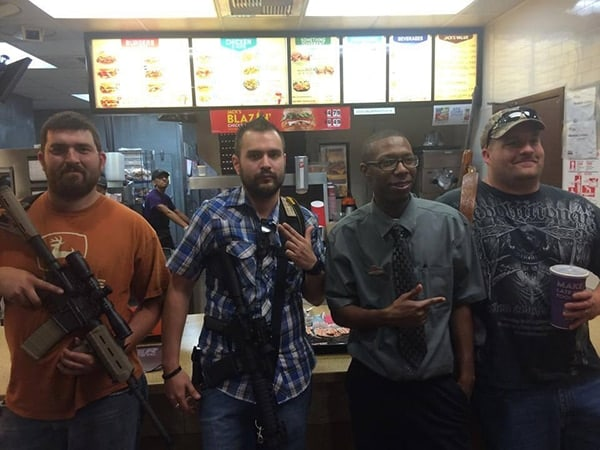 Open carry activists at a Fort Worth Jack in the Box drew the attention of police following a 911 call. (Photo credit: Facebook)