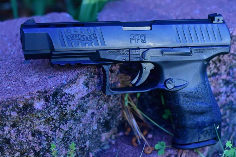 walther ppq propped up against stones