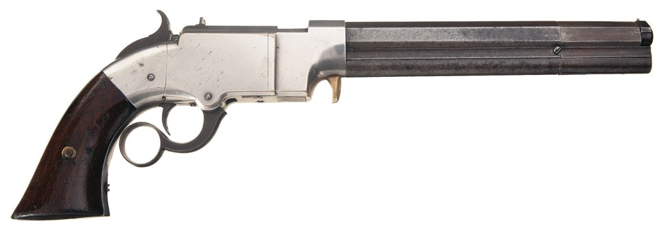 With a lever to help cock multiple hammers, the multi-barrel revolver can work. (Photo Credit: RockIslandAuctions)