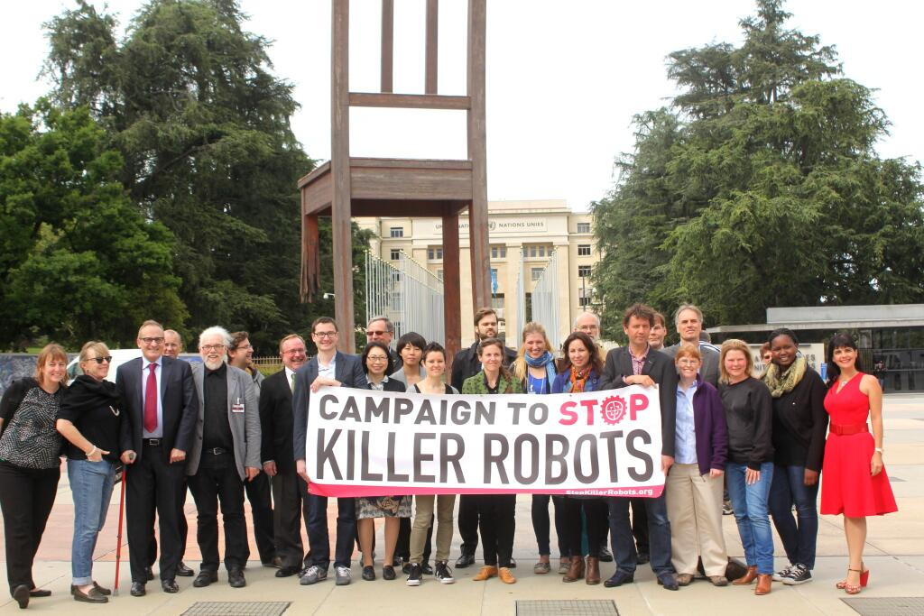 Attendees to the meeting include the Campaign to Stop Killer Robots group. (Photo credit: CSKR)