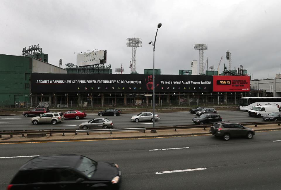 Rosenthal's billboard as it currently appears. (Photo credit: Boston Globe)