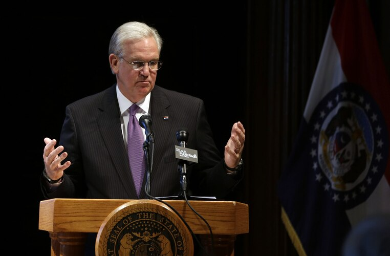 Missouri Gov. Jay Nixon speaks during a news conference following the end of the legislative session Friday, May 16, 2014, in Jefferson City, Mo. (Photo credit: Jeff Roberson/AP)