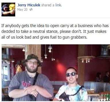 Jerry Miculek posted a heartfelt appeal through social media to open carry activists this week. (Photo credit: Facebook)