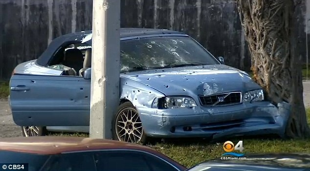 Montesano's grandmother's bullet-riddled Volvo. (Photo credit: CBS4 Miami)