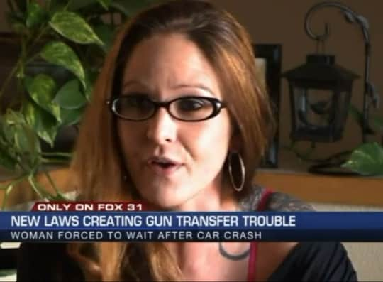Colorado resident Sara Warren had her gun given to police after a car accident, forcing her to spend two months of her life getting it back due to the state's new background check requirements. (Photo credit: Fox 31 Denver)