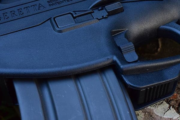 The ARX bolt release/hold is located on and under the trigger guard (Photo by Jim Grant)
