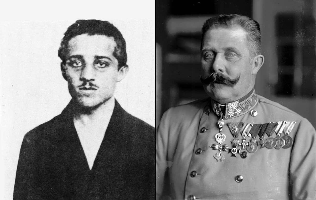 Assassin Gavrilo Princip (left) and his victim Archduke Franz Ferdinand, both photographed in 1914. (Photo credit: Austrian National Library)