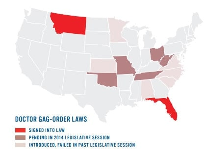 States with doctor gag-order laws. (Credit: Everytown for Gun Safety)