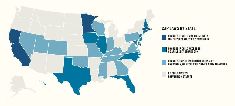 States with Child Access Prevention laws. (Credit: Everytown for Gun Safety)