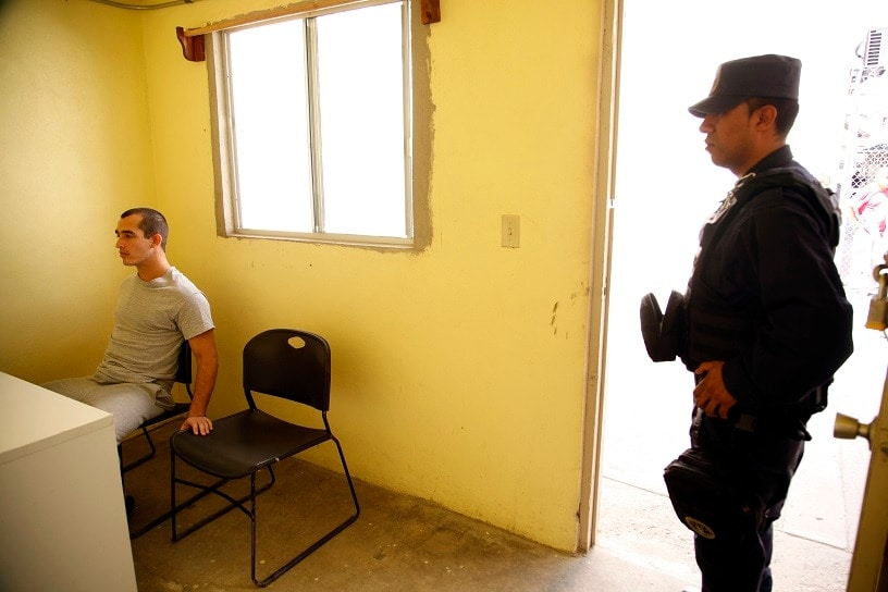 Marine Sgt. Andrew Tahmooressi, seen here in a Tijuana Penitentiary, is has been jailed under weapons charges since April in Mexico after he took a wrong turn and crossed the border by accident. (Photo credit: AP Photo/U-T San Diego, Alejandro Tamayo)