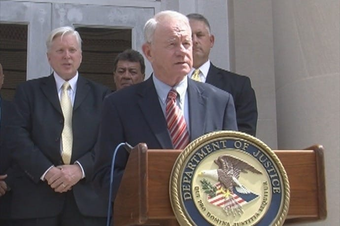 U.S. Attorney George L. Beck Jr. for the Middle District of Alabama speaking to the media Monday about recent arrests following an ATF sting operation at Sadie's Flea Market in Dothan. (Photo credit: WDHM)