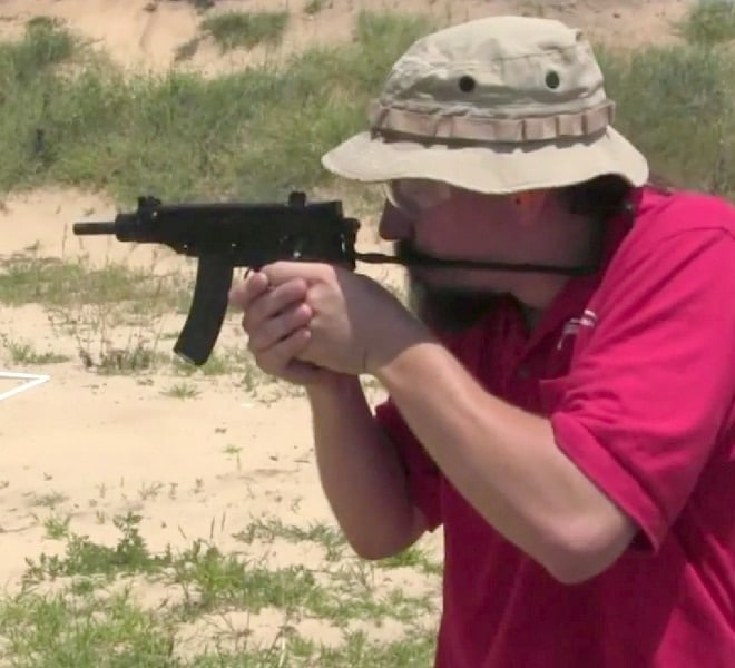 McCollum shooting a Skorpion (photo credit: Forgotten Weapons).