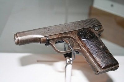 Princip's gun, a Belgian-made FN Browning Model 1910, serial 19074, was provided through Serbian military intelligence contacts to the shooter. In the custody of an Austrian Jesuit monastery, the gun has been on display at the Military Museum in Vienna since 2004. (Photo credit: Cinque Terre Liguria)