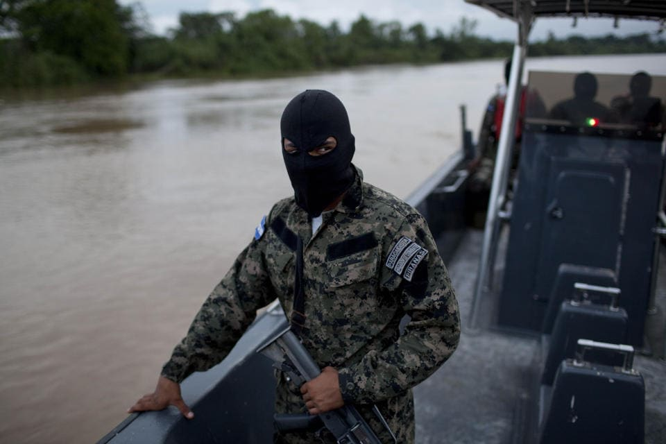 The Honduran Navy, seen here on patrol near Ahaus, extensively patrols the remote area of the country the Aqua Quest crew found themselves in. (Photo credit: Rodrigo Abd/AP)