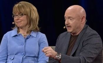 Mark Kelly and Gabby Giffords at a 2014 TED Conference in March.  (Photo credit: Youtube)
