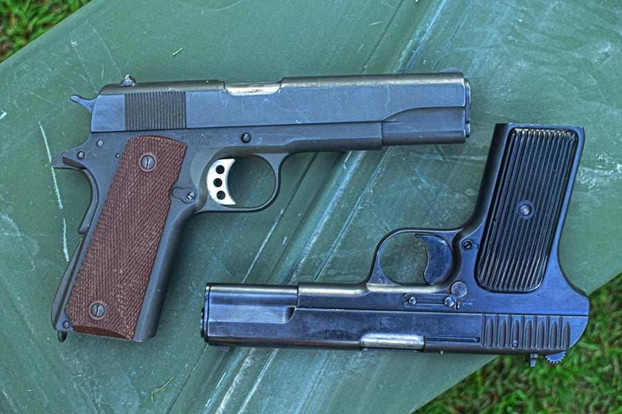 Single-action, single stack , two totally different cartridges (Photo by Jim Grant)