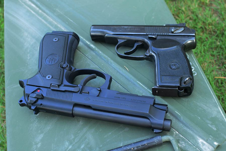The Beretta M9a1 and the Soviet Makarov PM- both solid pistols, but one is better than the other (Photo by Jim Grant)