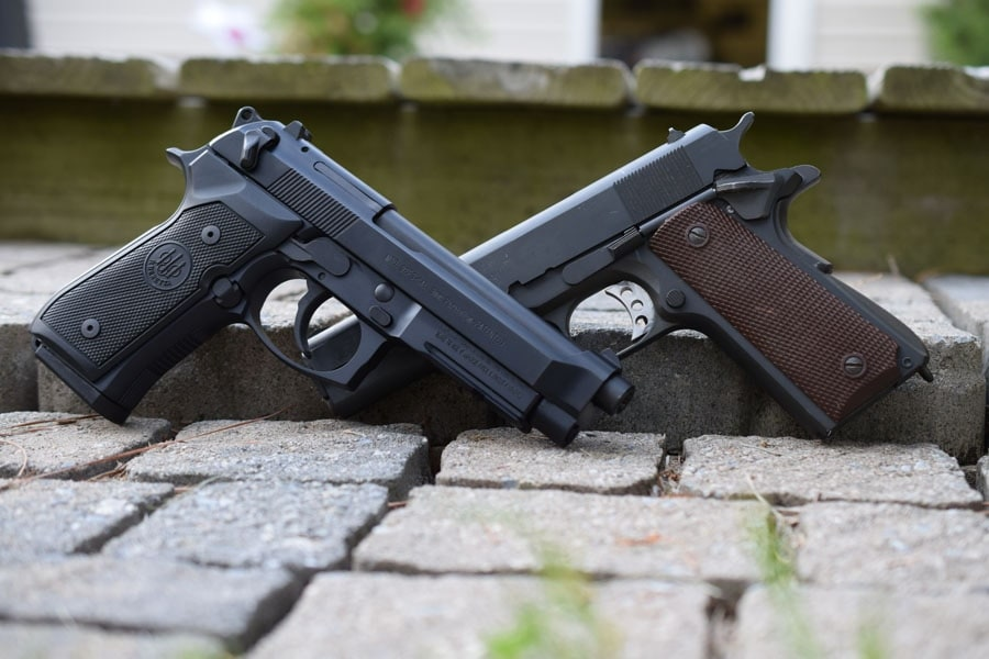 The M1911 and its replacement, the M9 (Photo by Jim Grant)