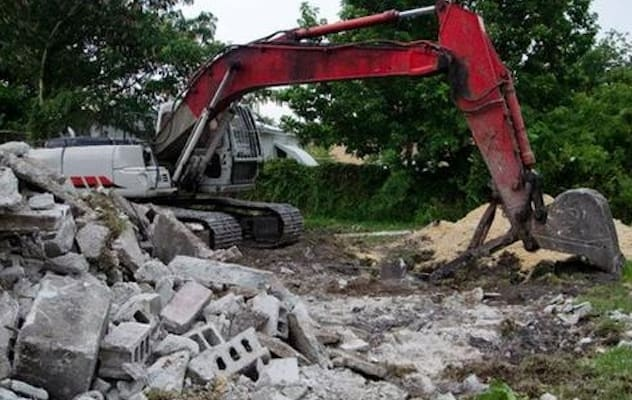 The building was razed to the ground after being deemed unsafe to live in.