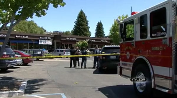 The owner of a nearby bakery actually saw the two suspects, masked and armed, walking up to the jewelry store and immediately called 911. (Photo credit: KTVU)