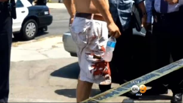 Witnesses say the store owner was covered in blood, but it wasn't his own. (Photo credit: KCAL 9)