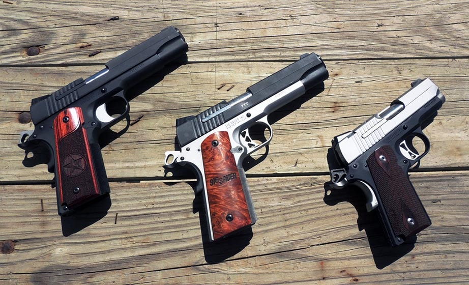 Three slick .45's from SIG Sauer (Photo by Henry Kadoch)