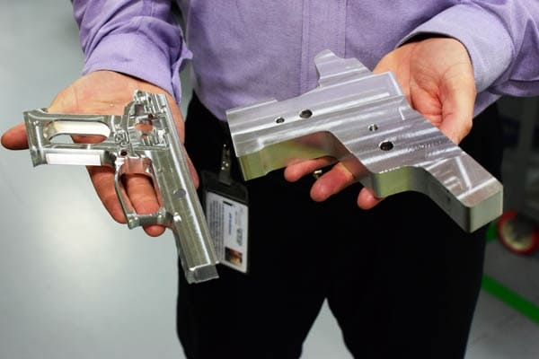 A SIG pistol frame pre and post milling (Photo by Jim Grant)