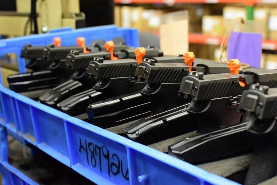 Oh man, look at those beautiful pistols, on their way to some lucky recipient (Photo by Jim Grant)