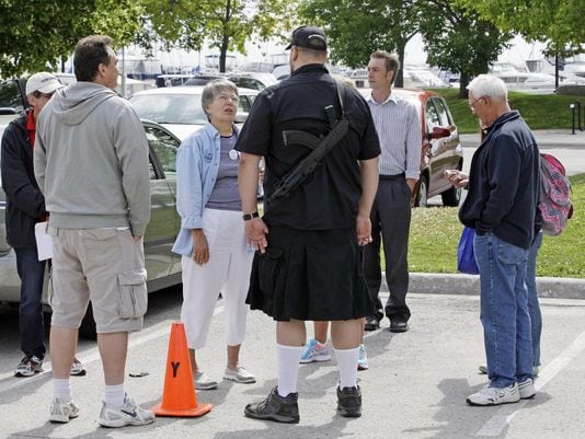 "William Polster, who apparently enjoys a good tactical kilt, became part of Wisconsin First Lady Tonette Walker's ""Walk with Walker"" campaign. (Photo credit: Gary C. Klein/Sheboygan Press Media)"