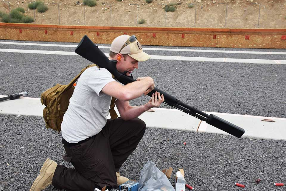 The author attempting a reload, two shells at a time. (Photo: Matt Korovesis)